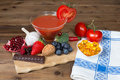 Delicious antioxidants as a colorful mix on a wooden table Stock Image