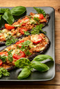 Delicious appetizer -grilled eggplants baked with minced meat, tomatoes and cheese.