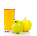 Delicious apple juice in glass and apples on white Stock Image