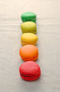 Delicious assortment of colored macaroons.