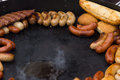 Delicious assortment of grilled sausages Royalty Free Stock Photo