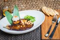 Delicious baked eggplant on a plate Royalty Free Stock Photo