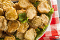Delicious battered fried pickles with dipping sauce Royalty Free Stock Photos