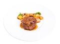 Delicious beef steak in demiglas sauce.