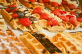 Delicious belgian waffles Royalty Free Stock Photos