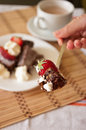 Delicious Bite of Chocolate Brownie and Strawberry with Whipped Royalty Free Stock Photo