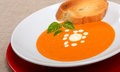 Delicious bowl of tomato soup with grilled bread and basil Royalty Free Stock Photo