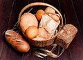 Delicious bread in basket Stock Photos