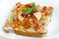 Delicious bread dahi papdi chaat traditional with and yogurt Stock Photography