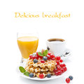 Delicious breakfast with belgian waffles and fresh berries on white Stock Images