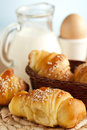 Delicious breakfast with croissants Royalty Free Stock Photos