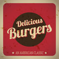 Delicious burgers retro banner with old art with american classic Royalty Free Stock Photography