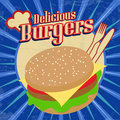 Delicious burgers vintage poster grunge vector illustration Stock Photo