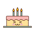 Delicious cake brithday with candles kawaii character Royalty Free Stock Photo