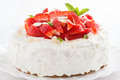 Delicious cake with whipped cream and fresh strawberries close up Royalty Free Stock Photo