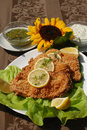 Delicious catfish escalope spiced in sesame Royalty Free Stock Photos