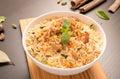 Delicious chicken biryani in a white round bowl. Royalty Free Stock Photo