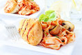 Delicious chicken breast with pasta Royalty Free Stock Photo
