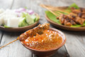 Delicious chicken satay malaysian with peanut sauce one of famous local dishes Royalty Free Stock Photos
