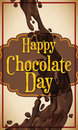 Delicious Chocolate Stream with a Greeting Label for Chocolate Day, Vector Illustration