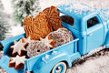 Delicious Christmas cookies in back of toy truck Royalty Free Stock Photo