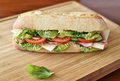 Delicious ciabatta sandwich with ham, tomatoes, fresh salad and cucumber Royalty Free Stock Photo
