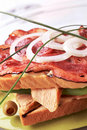 Delicious club sandwich Stock Photos