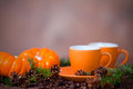 Delicious coffee in orange cups small pumpkins and pine boughs on blurred neutral background Stock Photo