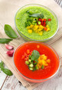Delicious cold red and green gazpacho soup in bowls Royalty Free Stock Images