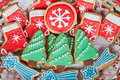 Delicious cookies with Christmas shapes Royalty Free Stock Photo
