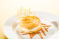 Delicious creamy dessert with caramel topping Stock Images