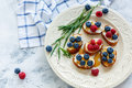 Delicious crostini with ricotta, berries and honey. Royalty Free Stock Photo