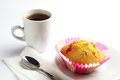 Delicious cupcake and coffee with jujube cup of Royalty Free Stock Photography
