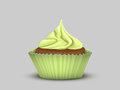 Delicious cupcake with green cream