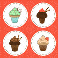Delicious cupcakes collection vector illustration Stock Image