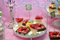 Delicious desert on a pink background Royalty Free Stock Photo