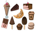 Delicious dessert chocolate cakes and croissant set collection vector illustration