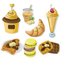 Delicious dessert chocolate pancakes, waffles and croissant set collection vector illustration