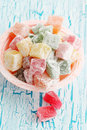 Delicious dessert turkish delight on the cracked board Stock Photography