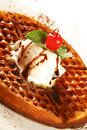Delicious dessert Waffle Royalty Free Stock Photo