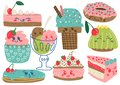 Delicious Desserts Set, Confectionery and Sweets, Cake, Ice Cream, Donut, Cupcake, Eclair Vector Illustration