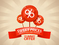 Delicious discounts design sweet prices template Royalty Free Stock Images