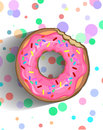 A delicious donut in a pink frosting with sprinkle and chipped chocolate