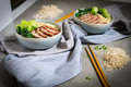 Delicious egg noodle with red pork and vegetable in bowl decorat Royalty Free Stock Photo