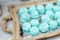 Delicious fancy mint pastila on wooden tray Stock Photo