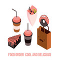 Delicious Food order Dessert Cake Donut Coffee Tea cup Isometric Royalty Free Stock Photo