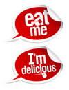 Delicious food stickers Royalty Free Stock Images