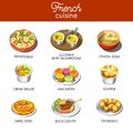 Delicious French cuisine with most famous exquisite dishes