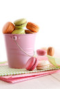 Delicious French Macaroons on table Royalty Free Stock Photos