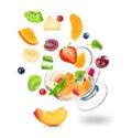 Delicious fresh fruit salad falling Royalty Free Stock Photo